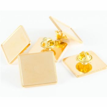 Premium Badge Blank rect. 22x20mm gold clutch and clear dome